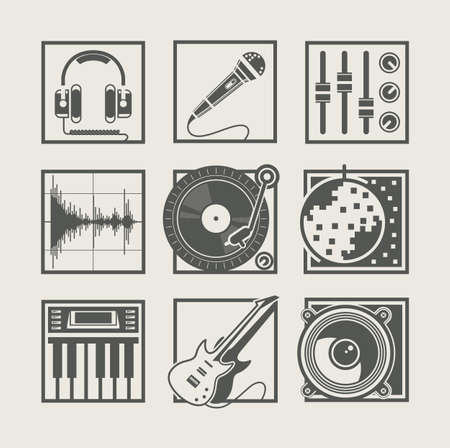 speaker icon: set of music instruments icons for disco party
