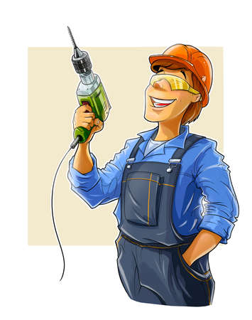 specialities: builder with drill  illustration isolated on white background