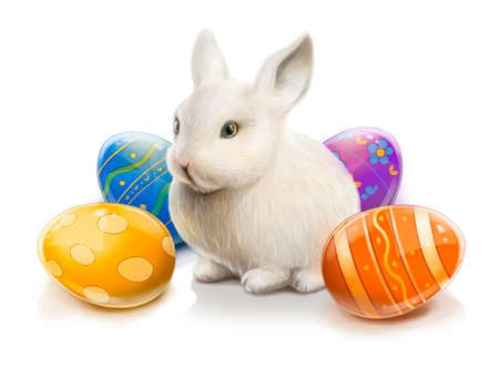 paschal: Easter rabbit with colored eggs. Illustration isolated on white background