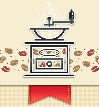 coffee grinder with coffee, food background  Vector