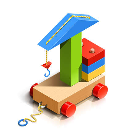 building blocks: lifting crane, wooden toy vector illustration isolated on white background.