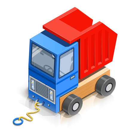 truck. wooden toy illustration isolated on white background. Transparent objects and opacity masks used for shadows and lights drawing Stock Vector - 18422659
