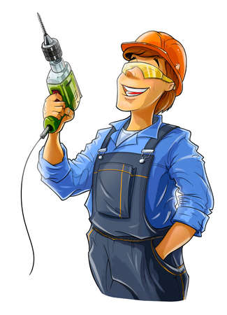 speciality: builder with drill  illustration isolated on white background