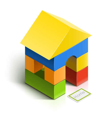 brick house. wooden toy  illustration isolated on white background  . Transparent objects and opacity masks used for shadows and lights drawing