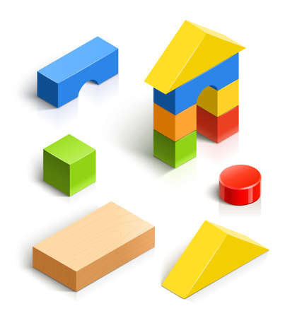 building blocks: brick house. wooden vector illustration isolated on white background.