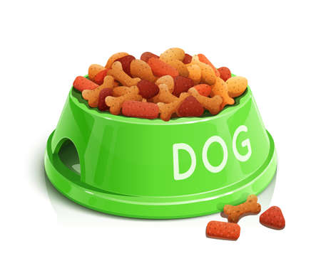 bowl with dog feed  vector illustration isolated on white background EPS10. Transparent objects and opacity masks used for shadows and lights drawing