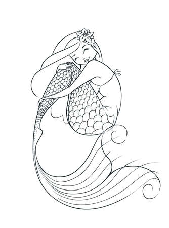 mermaid fairy-tale character vector illustration isolated on white background Vettoriali