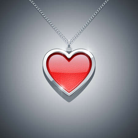 heart on chain  jewellery decoration vector illustration EPS10  Transparent objects and opacity masks used for shadows and lights drawing 免版税图像 - 19245651