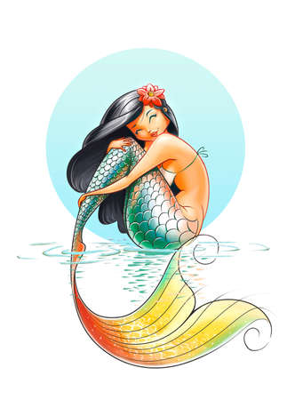 mermaid fairy-tale character illustration on white background illustration