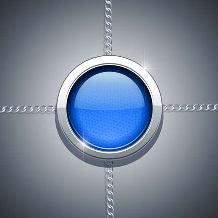 opacity: metallic ring on chain vector illustration. Transparent objects and opacity masks used for shadows and lights drawing