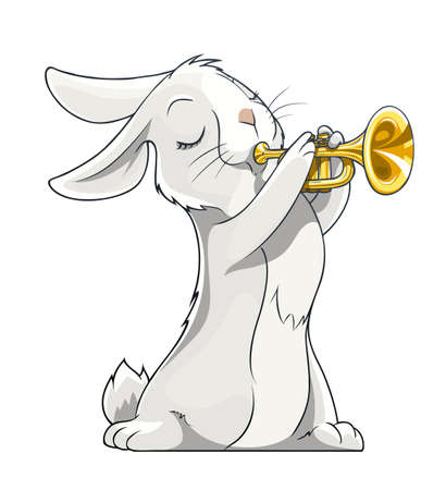 trumpet vector: hare playing trumpet vector illustration isolated on white background