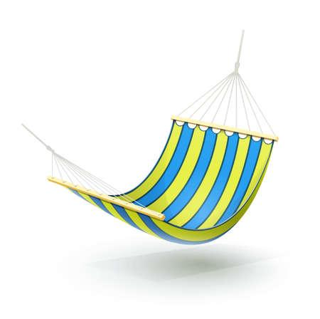 hammock: hamaca ilustraci�n aislado sobre fondo blanco. Los objetos transparentes y las m�scaras de opacidad para las sombras y las luces de dibujo