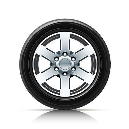 opacity: car wheel illustration isolated on white background. Transparent objects and opacity masks used for shadows and lights drawing