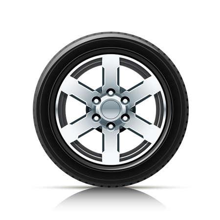 car wheel: ilustraci�n de rueda de coche aislados sobre fondo blanco. Los objetos transparentes y las m�scaras de opacidad para las sombras y las luces de dibujo