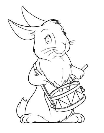 downy: hare playing drum illustration isolated on white background