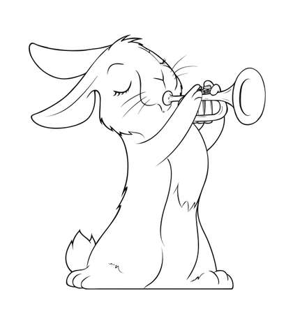 downy: hare playing trumpet illustration isolated on white background