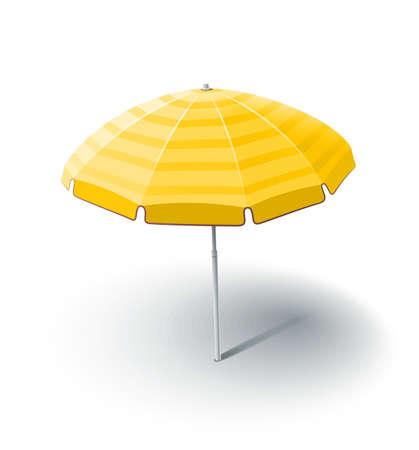 plage parasol illustration isolée sur fond blanc. Les objets transparents et masques d'opacité utilisées pour les ombres et les lumières de dessin Illustration