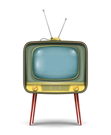 retro tv set illustration isolated on white background. Transparent objects and opacity masks used for shadows and lights drawing Vettoriali