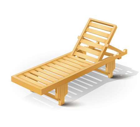 wooden beach bed vector illustration isolated on white background EPS10. Transparent objects and opacity masks used for shadows and lights drawing Vector