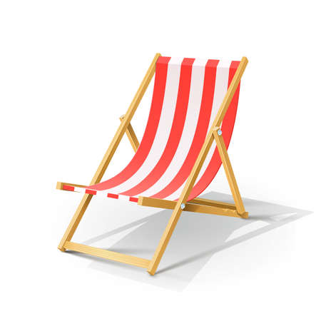 wooden beach chaise longue vector illustration isolated on white background EPS10. Transparent objects and opacity masks used for shadows and lights drawing Ilustração