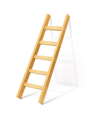 stepladder: wooden step ladder vector illustration isolated on white background EPS10. Transparent objects and opacity masks used for shadows and lights drawing