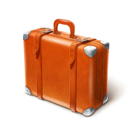 packaged: leather big suitcase vector illustration