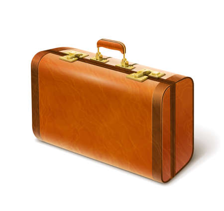 big leather suitcase vector illustration