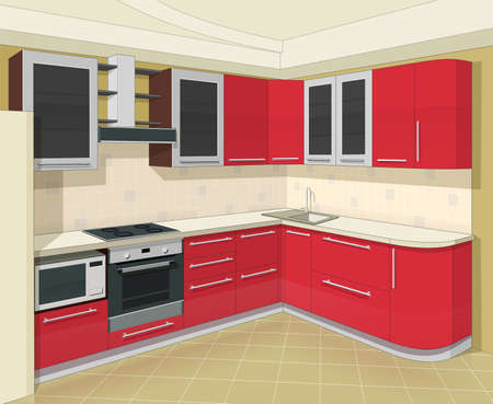 kitchen furniture: kitchen interior with furniture vector illustration