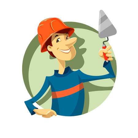 specialities: builder with trowel illustration Illustration