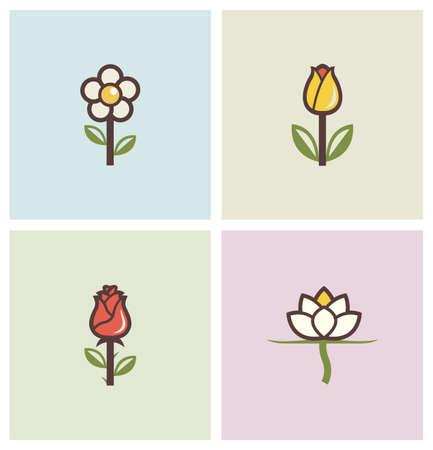 flowers set of icons illustration