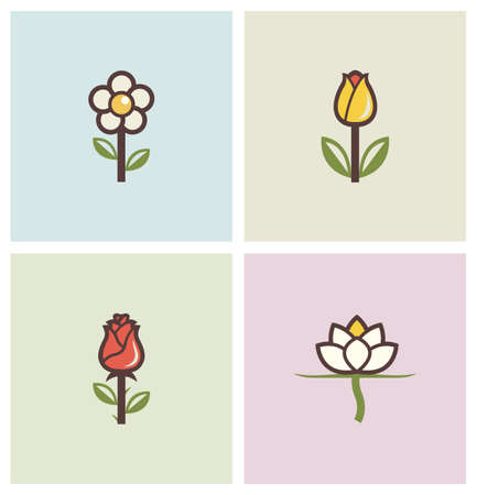 a bud: flowers set of icons illustration