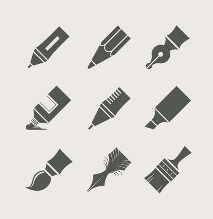 Pens and brushes for drawing. Set of simple icons. Stock Vector - 22220642