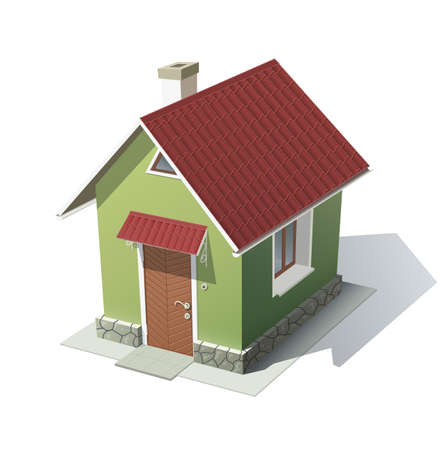housetop: green house with red roof vector illustration isolated on white . Transparent objects and opacity masks used for shadows and lights drawing