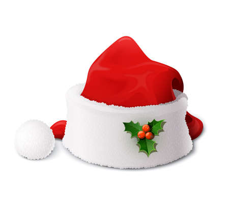 Santa Claus hat. Vector illustration isolated on white background EPS10. Transparent objects and opacity masks used for shadows and lights drawing