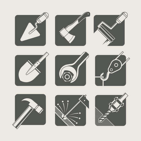 welding: construction tools. set of vector icons. vector illustration Illustration