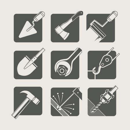 construction tools. set of vector icons. vector illustration Vettoriali