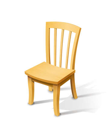 Wooden chair. Vector illustration isolated on white background EPS10. Transparent objects and opacity masks used for shadows lights drawing Vettoriali
