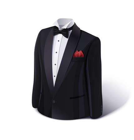 tux: Tuxedo and bow. Stylish suit.