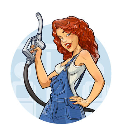 overalls: Girl with benzine pump.