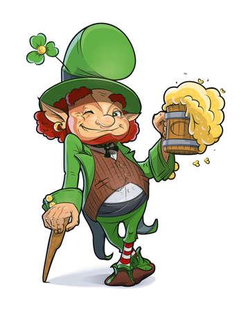 Dwerg met bier. Illustratie voor Saint Patricks Day.