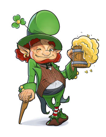 enano: Enano con cerveza. Ilustración para el día de san Patricio.