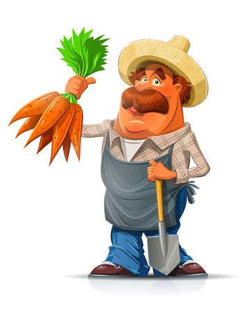 Tuinman met wortel en schop. Eps10 vector illustratie. Geà ¯ soleerd op witte achtergrond
