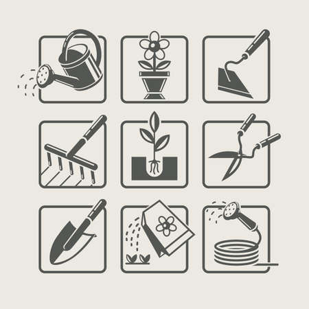 sprinkling: Garden tools. Icons set