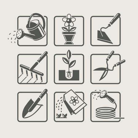 Las herramientas de jardinería. Iconos fijados