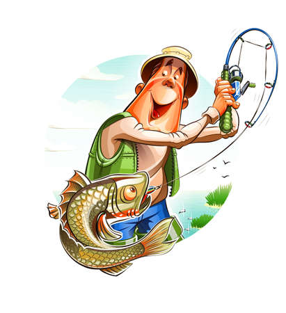 ocean fish: Fisherman and fish. Illustration