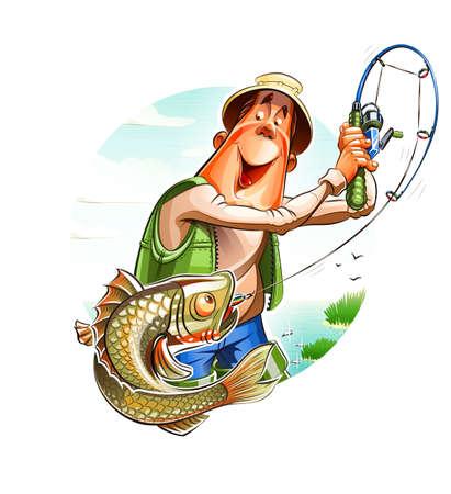 Fisherman and fish. Vettoriali