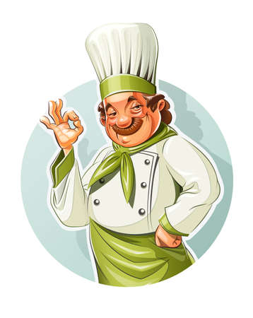 Smiling cook show okay.  Vector