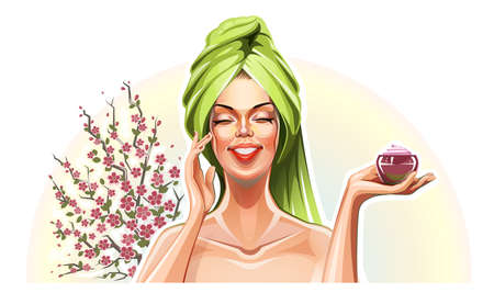 damsel: Beautiful girl with cream and sakura.  Illustration
