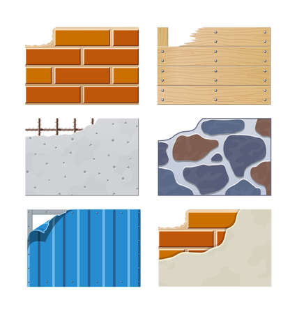 enclosures: Wall. Set of building icons.