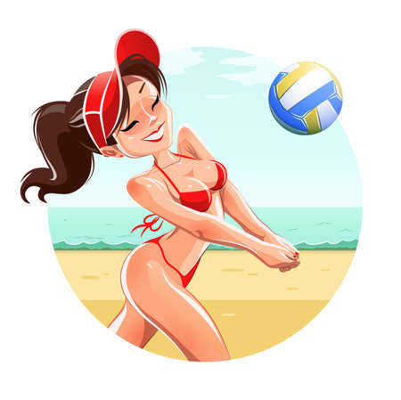 Girl playing volleyball. Isolated on white background Vector